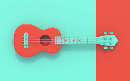 Green red soprano ukulele Top view 3D rendering illustration on red and green background