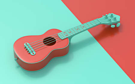 Green red soprano ukulele Side view 3D rendering illustration on red and green background