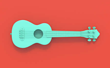 Green soprano ukulele 3D rendering illustration on red background Reklamní fotografie
