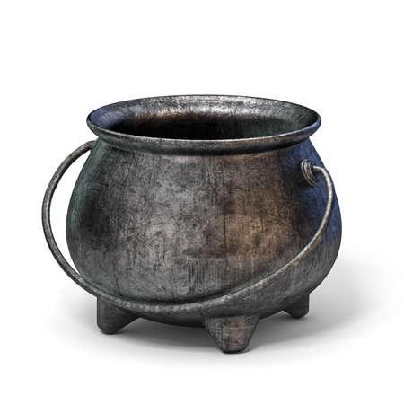 Empty iron cauldron 3D render illustration isolated on white background