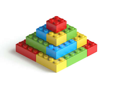 Toy brick pyramid 3D render illustration isolated on white background