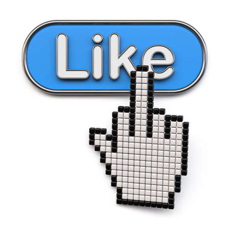Cursor hand with middle finger on like button 3D render illustration isolated on white background