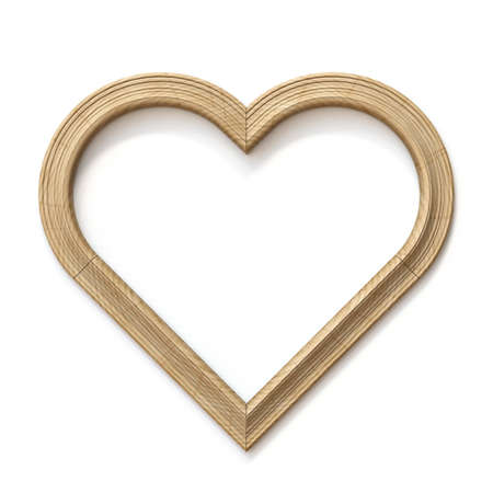 Wooden heart shaped picture frame 3D render illustration isolated on white background Stock Photo