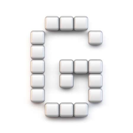 White cube, pixel font Letter G 3D render illustration isolated on white background