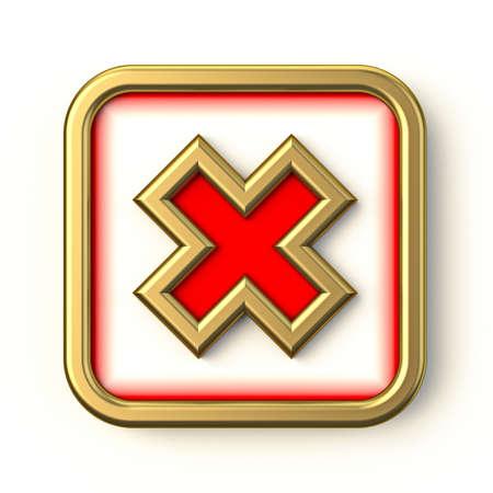 Golden red square check mark 3D render illustration isolated on white background