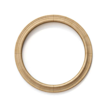 Wooden circle shaped picture frame 3D rendering illustration isolated on white background
