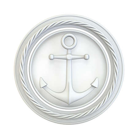 White anchor, circle and rope 3D render illustration isolated on white background