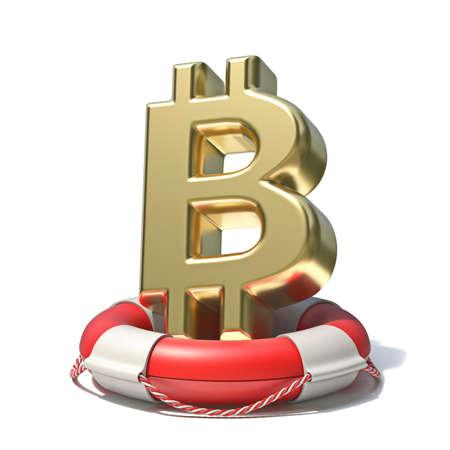 Golden bitcoin sign in lifebuoy 3D rendering illustration isolated on white background
