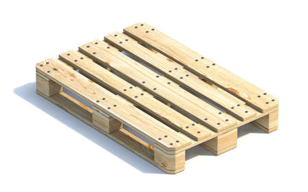 Wooden euro pallet 3D render illustration isolated on white background