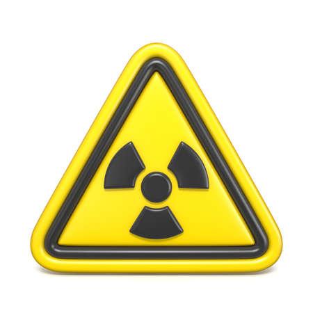 Radiation hazard sign 3D render illustration isolated on white background