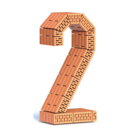 Brick wall font Number 2 TWO 3D render illustration isolated on white background