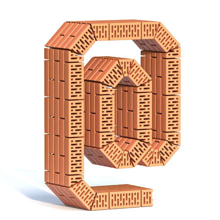 Brick wall font At symbol 3D render illustration isolated on white background Фото со стока