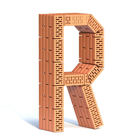 Brick wall font Letter R 3D render illustration isolated on white background