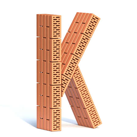 Brick wall font Letter K 3D render illustration isolated on white background