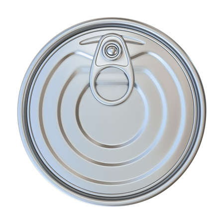 Metal tin Top view 3D render illustration isolated on white background Фото со стока