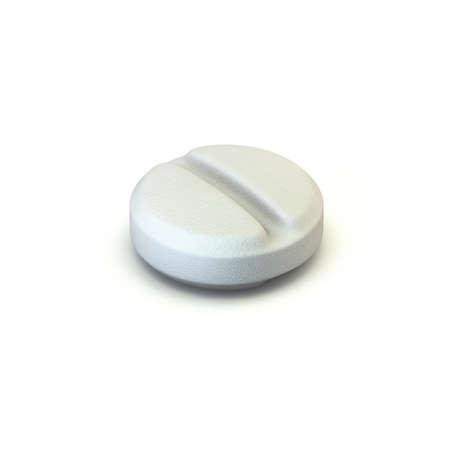 Single medical pill 3D render illustration isolated on white background