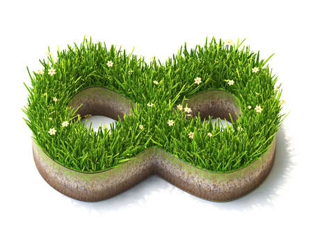 Infinity sign made of grass 3D render illustration isolated on white background