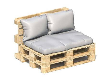 Wooden pallet sofa 3D render illustration isolated on white background