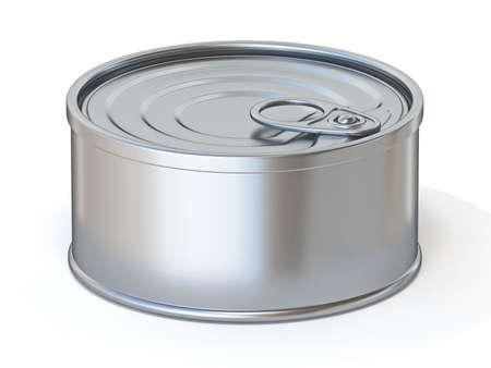 Metal tin Side view 3D render illustration isolated on white background Фото со стока