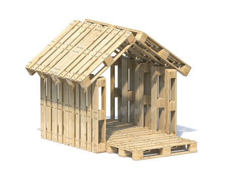 Wooden pallet house 3D render illustration isolated on white background