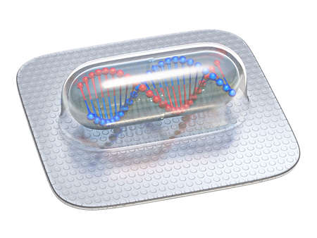 Pills capsule with DNA molecule 3D render illustration isolated on white background