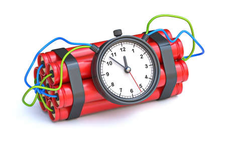 Dynamite with clock timer 3D render illustration isolated on white background