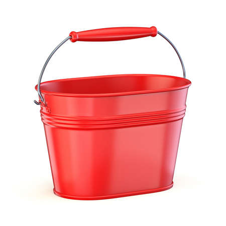 Red metal bucket 3D render illustration isolated on white background