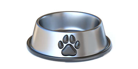Stainless steel pet food bowl 3D render illustration isolated on white background