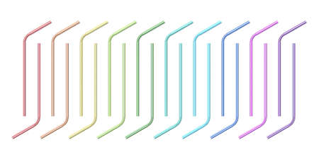Colorful drinking straw collection 3D render illustration isolated on white background