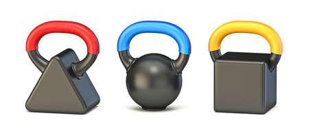 Basic shape kettle bell weight 3D render illustration isolated on white background