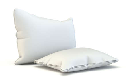 Square pillows 3D render illustration isolated on white background Фото со стока