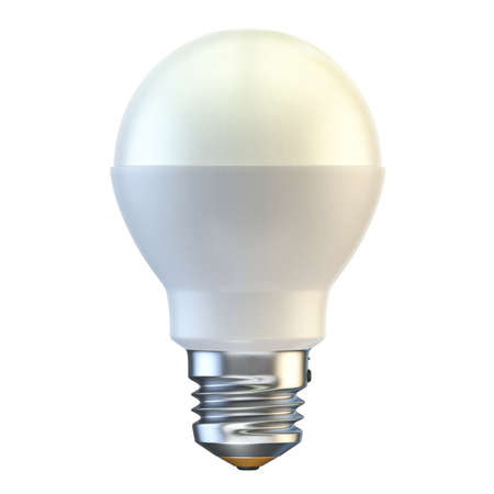 Single led light bulb 3D render illustration isolated on white background