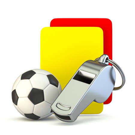 Metal whistle, soccer ball, yellow and red card 3D render illustration isolated on white background Фото со стока