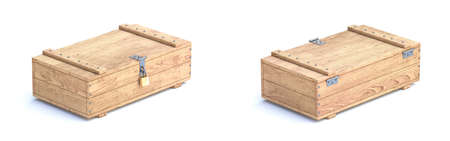 Wooden boxes 3D render illustration isolated on white background Фото со стока
