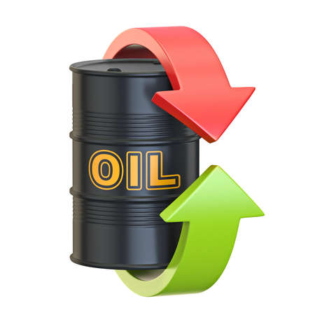 Black oil barrel with red and green arrows 3D render illustration isolated on white background