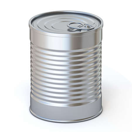 Food metal tin 3D render illustration isolated on white background Фото со стока