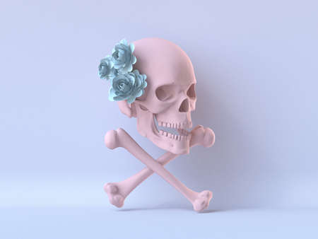 Pink skull with flowers and bones 3D render illustration on blue background 版權商用圖片