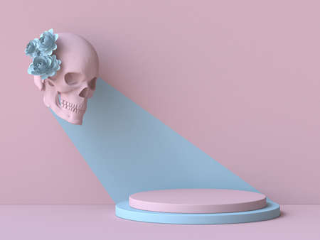 Pink skull with blue flowers look at pink podium 3D render illustration on pink background