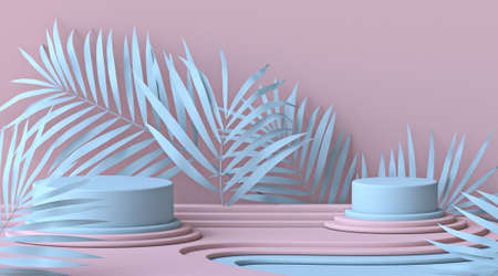 Abstract mock up podium with blue leaves and two cylinder stages 3D render illustration on pink background