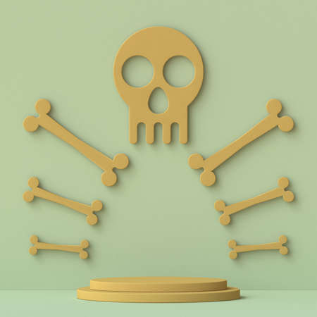 Brown skull sign with bones arranged 3D render illustration on green background 版權商用圖片