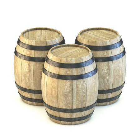 Three wooden barrels 3D render illustration isolated on white background Stockfoto
