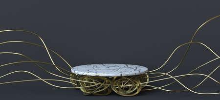 Abstract background white marble on golden wires 3D render illustration on black background 版權商用圖片