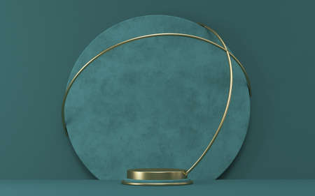 Mock up podium for product presentation textured circle with golden wires 3D render illustration on green background