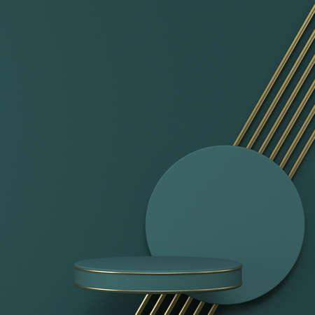 Mock up podium for product presentation parallel golden wires and green cylinder 3D render illustration on green background