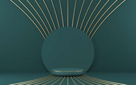 Mock up podium for product presentation circle with golden radial lines 3D render illustration on green background