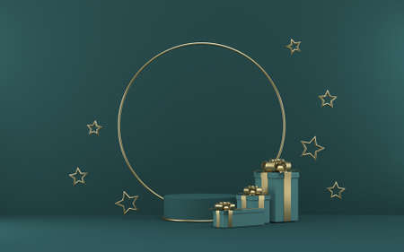Mock up podium for product presentation with gifts and golden stars 3D render illustration on green background