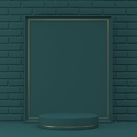 Mock up podium for product presentation picture  frame 3D render illustration on green bricks background 版權商用圖片