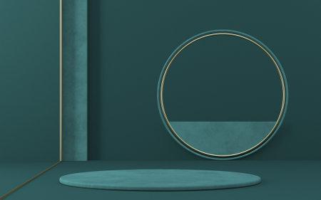 Mock up podium for product presentation green circle with golden border 3D render illustration on green background