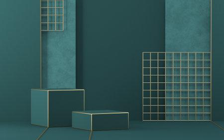 Mock up podium for product presentation rectangular shapes and golden lattice 3D render illustration on green background
