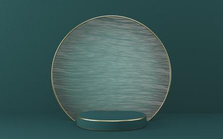 Mock up podium for product presentation textured glass circle 3D render illustration on green background